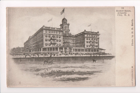 NJ, Atlantic City - Rudolf Hotel from the sea, Ottenheimer card - B17054
