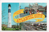 NJ, Atlantic City - Greetings from banner - Absecon Lighthouse - w03138