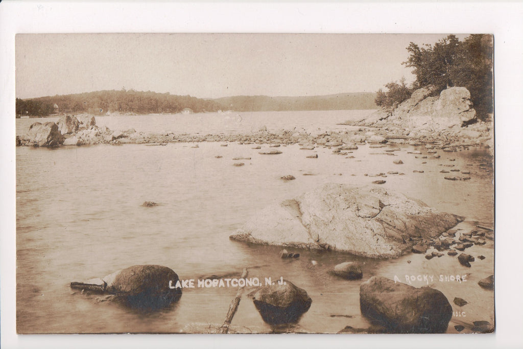 NJ, Lake Hopatcong - A Rocky Shore - RPPC postcard - EP0073