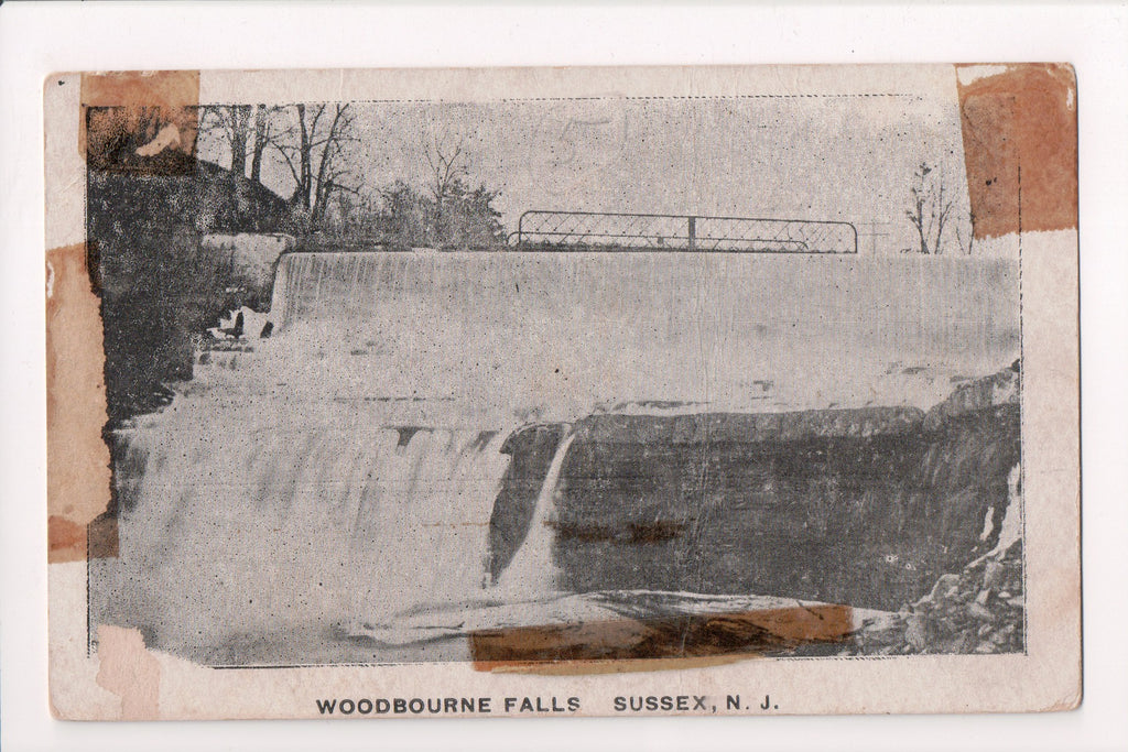NJ, Sussex - Woodbourne Falls closeup - z17070 - postcard **DAMAGED / AS IS**