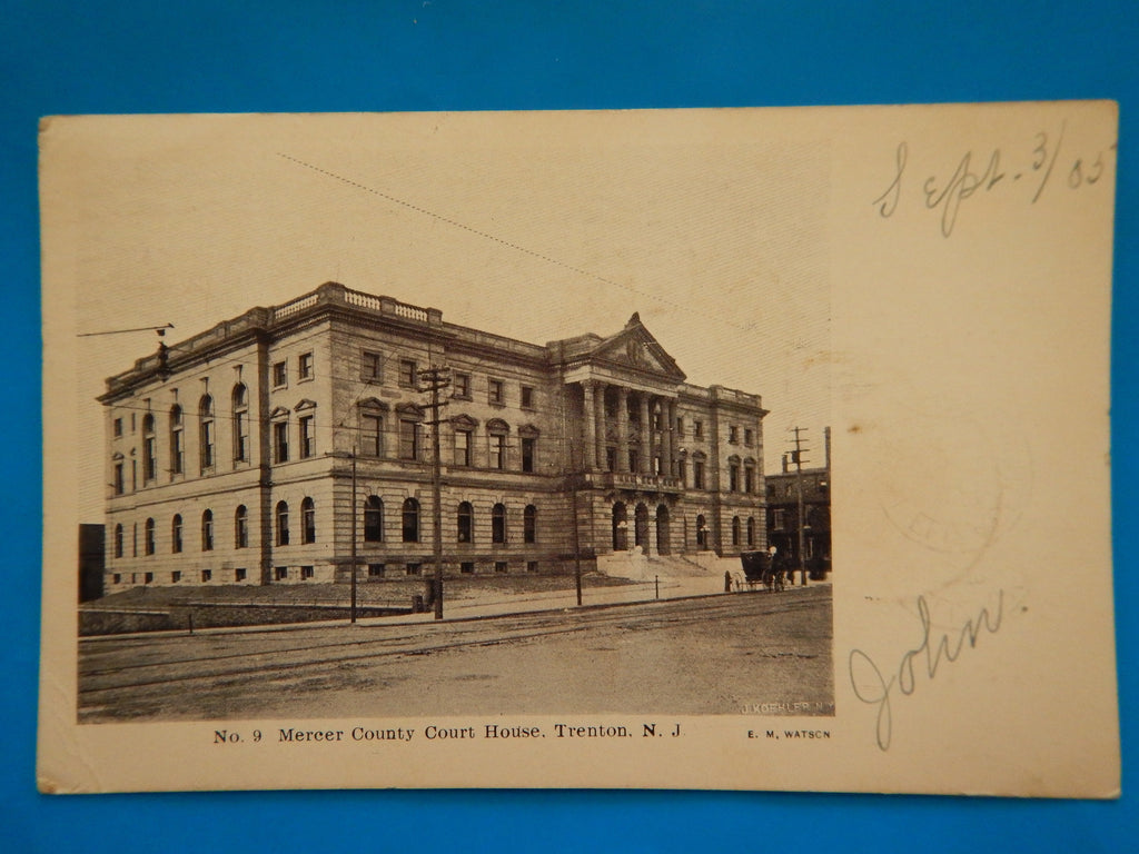 NJ, Trenton - Mercer County Court House - E M Watson postcard - EP0012