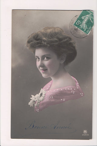 People - Female postcard - Pretty Woman - RPPC - spaced teeth - NL0187