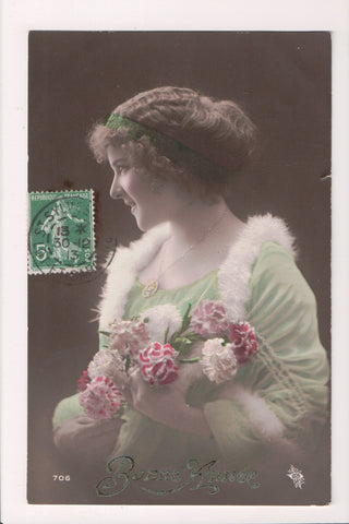 People - Female postcard - Pretty Woman - RPPC - Bonne Annee - NL0188