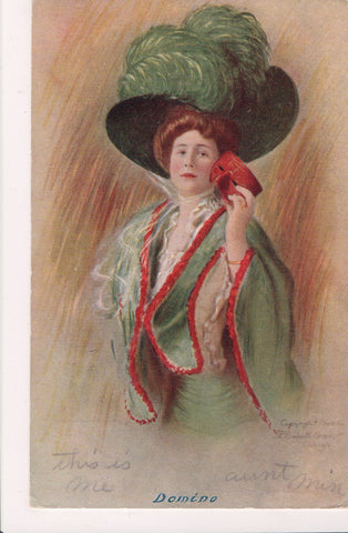 People - Female postcard - Pretty Woman - large feathers - DOMINO - NL0196
