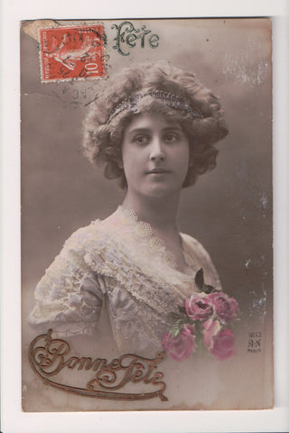 People - Female postcard - Pretty Woman - A N Paris RPPC - Head Band - NL0199