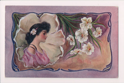 People - Female postcard - Pretty Woman - Chest up, flower - art deco? - NL0200
