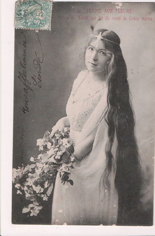 People - Female postcard - Pretty Woman - Femme aux Fleurs - LONG HAIR - NL0203