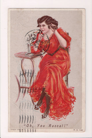 People - Female postcard - Pretty Woman - Oh you Rascall - on phone - NL0204