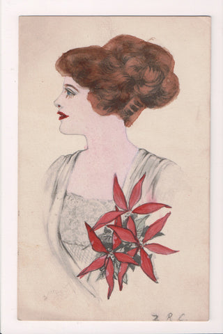 People - Female postcard - Pretty Woman - artist signed - poinsettia - NL0207