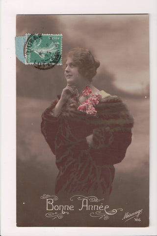 People - Female postcard - Pretty Woman - MESANGE RPPC -in fur - NL0210