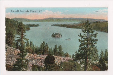 NV, Lake Tahoe - Emerald Bay from above postcard - NL0244
