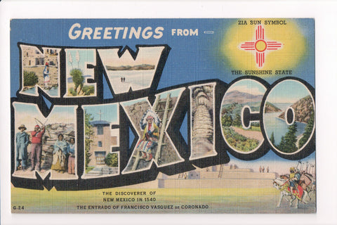 NM, New Mexico - Greetings from, Large Letter postcard - MT0010