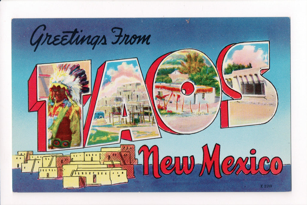 NM, Taos - Greetings from, Large Letter postcard - MT0009