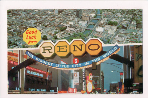 NV, Reno - multi view, bird eye of city / arch and signs - NV0005