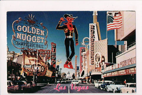 NV, Las Vegas - signs for Golden Nugget, Horshoe etc postcard - NV0011