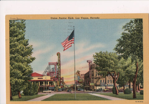 NV, Las Vegas - Union Pacific Park - signs Overland Hotel etc - NV0015