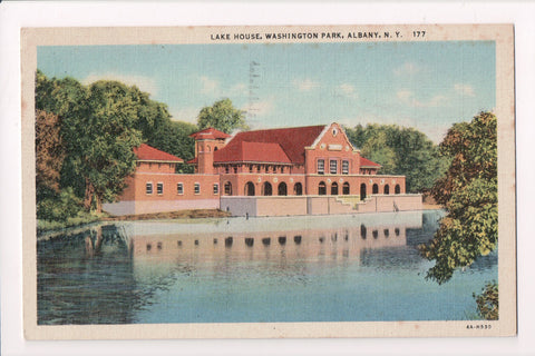 NY, Albany - Washington Park Lake House @1950 Slogan postcard - A07153