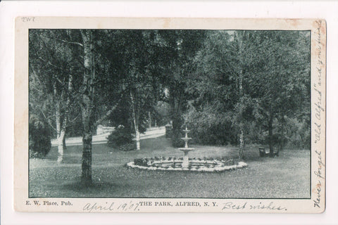 NY, Alfred - The Park, Water Fountain - E W Place Pub @1907 - H04004