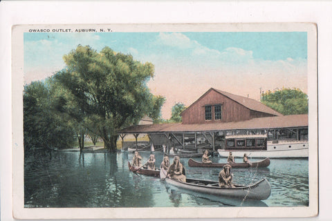 NY, Auburn - Owasco Outlet, indian squaws paddling - postcard - G06061