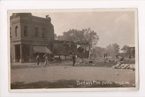 NY, Belfast - Bank of Belfast, Main St Fire Ruins Aug 6, 1909, RPPC - A17388