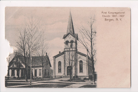 NY, Bergen - First Congregational Church - z17042 - postcard **DAMAGED / AS IS**