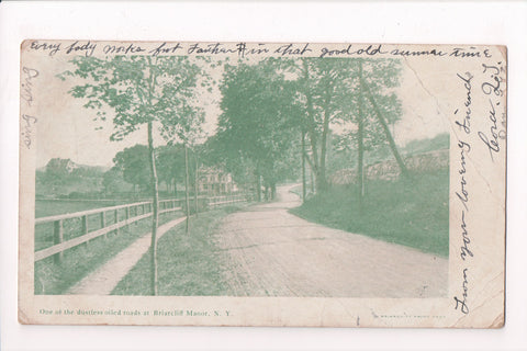 NY, Briarcliff Manor - One of the DUSTLESS oiled roads postcard - w03748