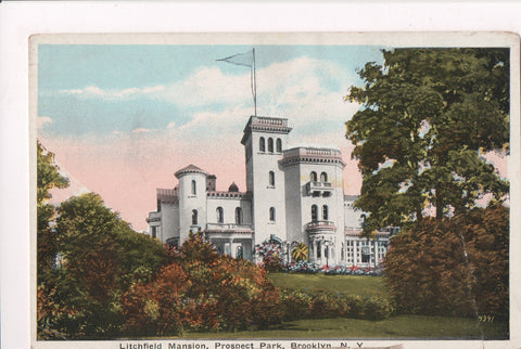 NY, Brooklyn - Prospect Park, Litchfield Mansion, vintage postcard - w02892