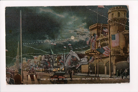 NY, Coney Island - Surf Avenue, signs for rides - @1922 postcard - A06536