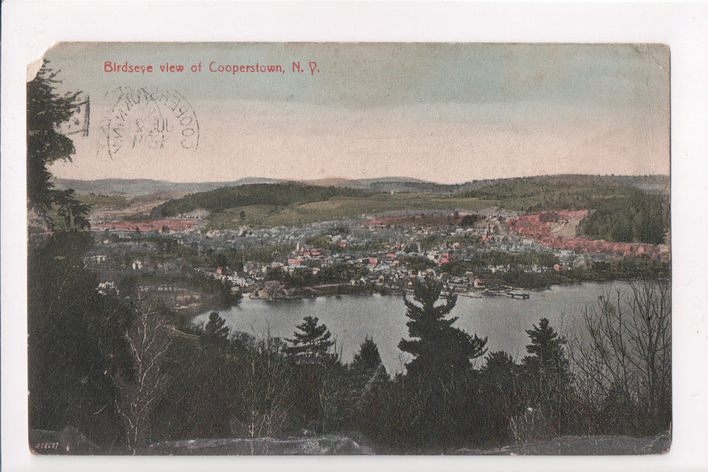 NY, Cooperstown - Bird Eye view postcard - w03058