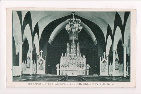 NY, Ellicottville - Catholic Church interior - DPO 2 for WEST, NY @1908 - W02022