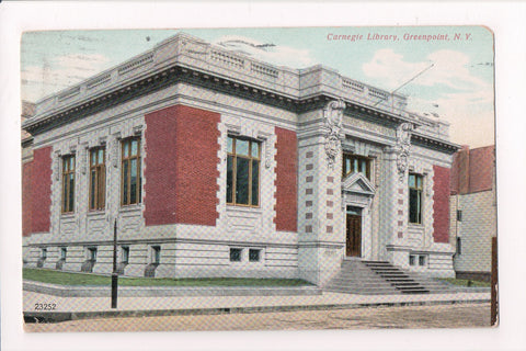 NY, Greenpoint - Carnegie Library - @1908 station cancel postcard - MB0301