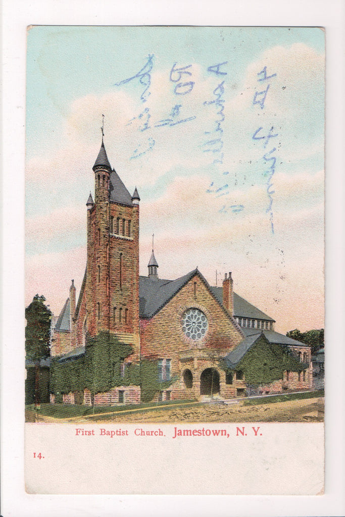NY, Jamestown - First Baptist Church - @1909 postcard - D17126