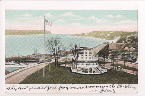 NY, New York - Claremont Inn - @1909 Rutland & Troy RPO cancel - 1909