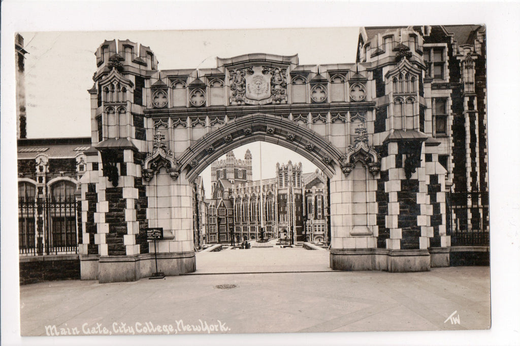 NY, New York City - City College Main Gate closeup RPPC - B08215