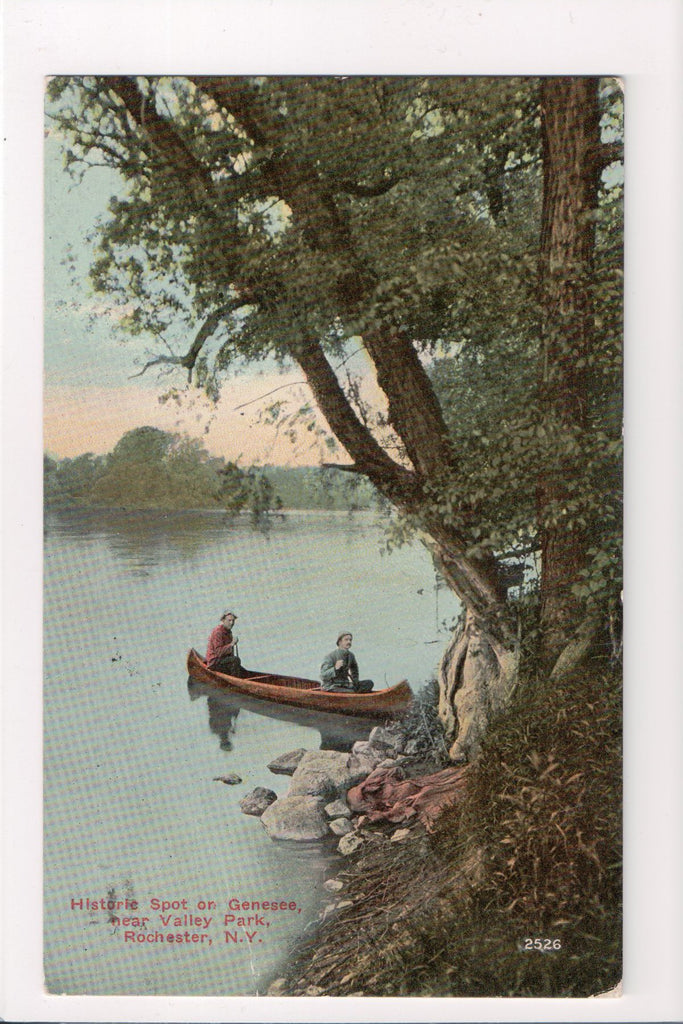 NY, Rochester - Valley Park historic spot, men in canoe - A07109