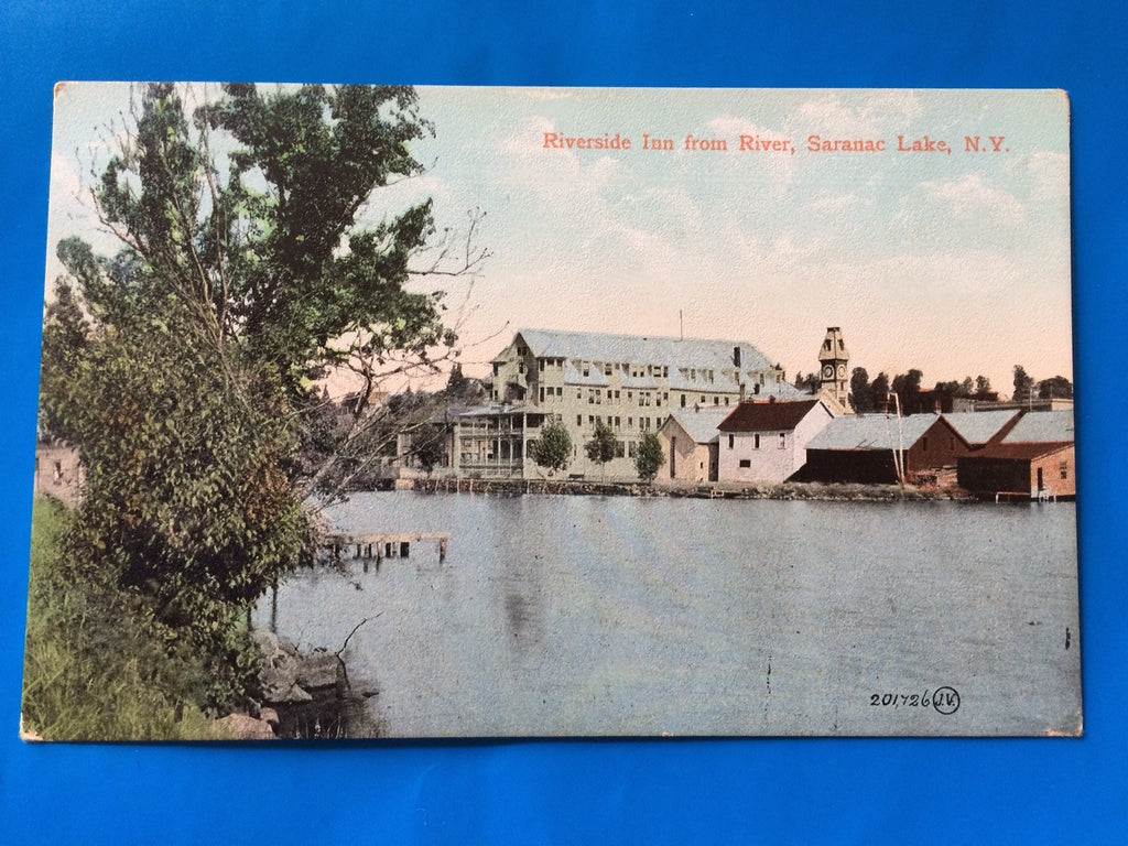 NY, Saranac Lake - Riverside Inn from river postcard - H15057