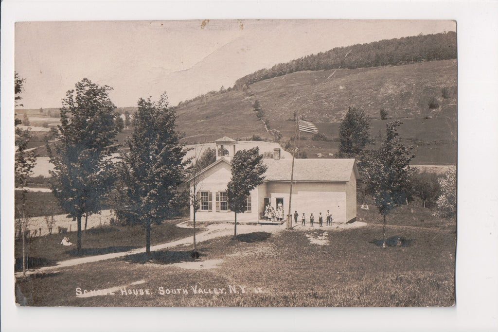 NY, South Valley - School House, people - RPPC - D06141