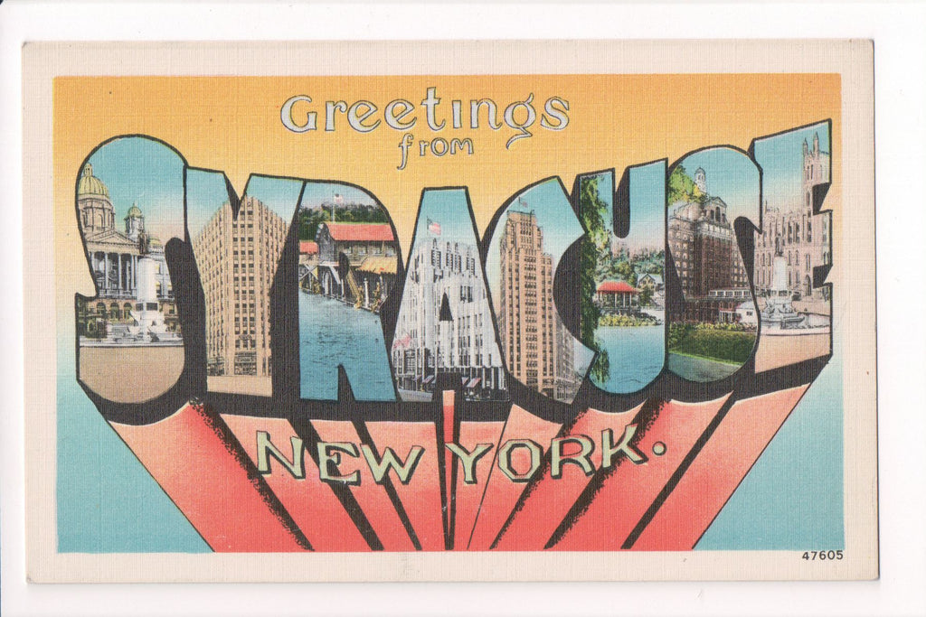 NY, Syracuse - Greetings from, Large Letter postcard - B08290