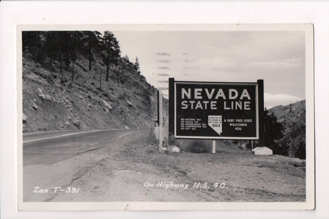 NV - Nevada State Line Boundary Sign, US 40 - @1949 RPPC postcard - B11409