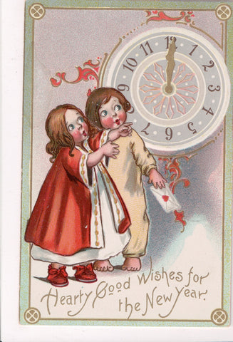 New Year - kids in their night clothes looking at clock - Unsigned Gassaway - D0