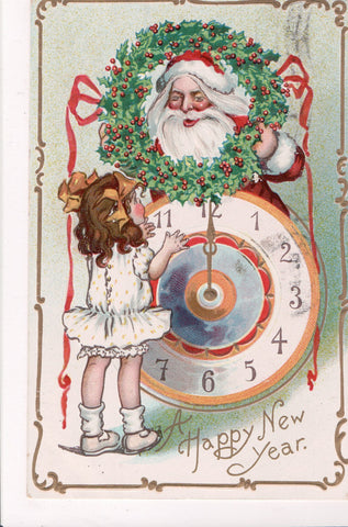 New Year - girl, clock, santa face in wreath - unsigned K Gassaway - T00258