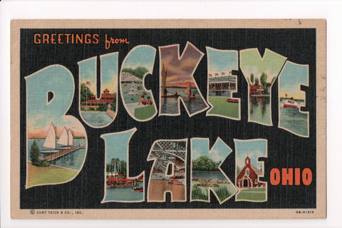 OH, Buckeye Lake - Greetings from, Large Letter postcard - CR0542