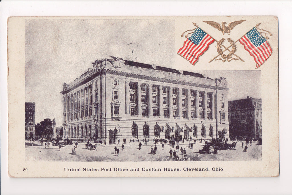 OH, Cleveland - US Post Office, Custom House, embossed flags - A06449