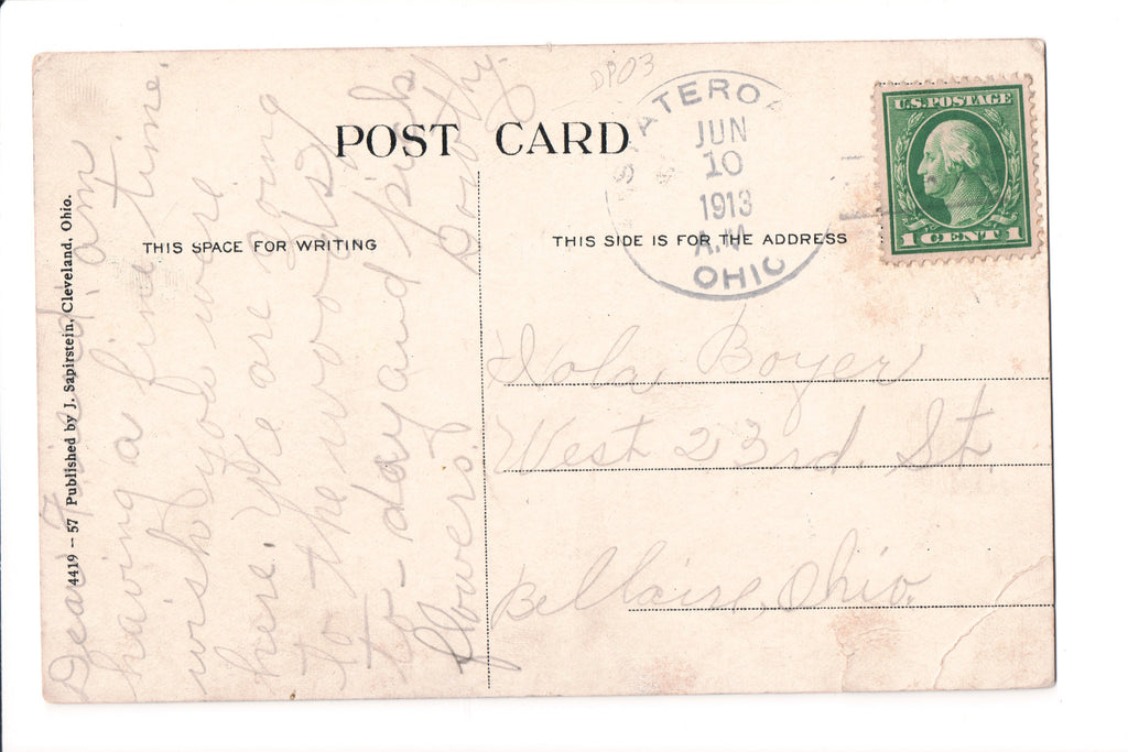 pm DPO - OH, State Road - 1913 cancel - Helbock S/I #3 - K03069