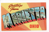 OH, Marietta - Greetings from, Large Letter postcard - B08288