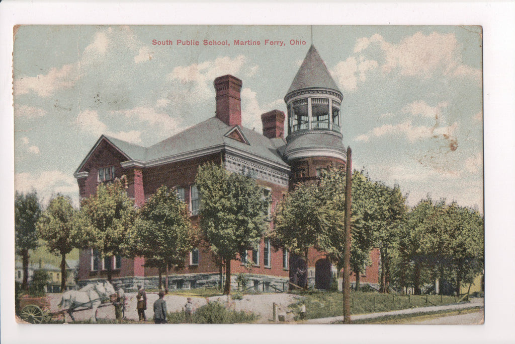 OH, Martins Ferry - South Public School - people, horses - B17162