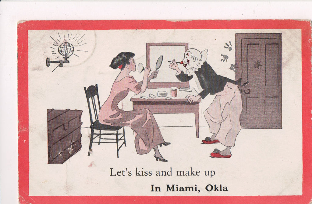 OK, Miami - LETS KISS AND MAKE UP, Clown and lady, makeup - C17541