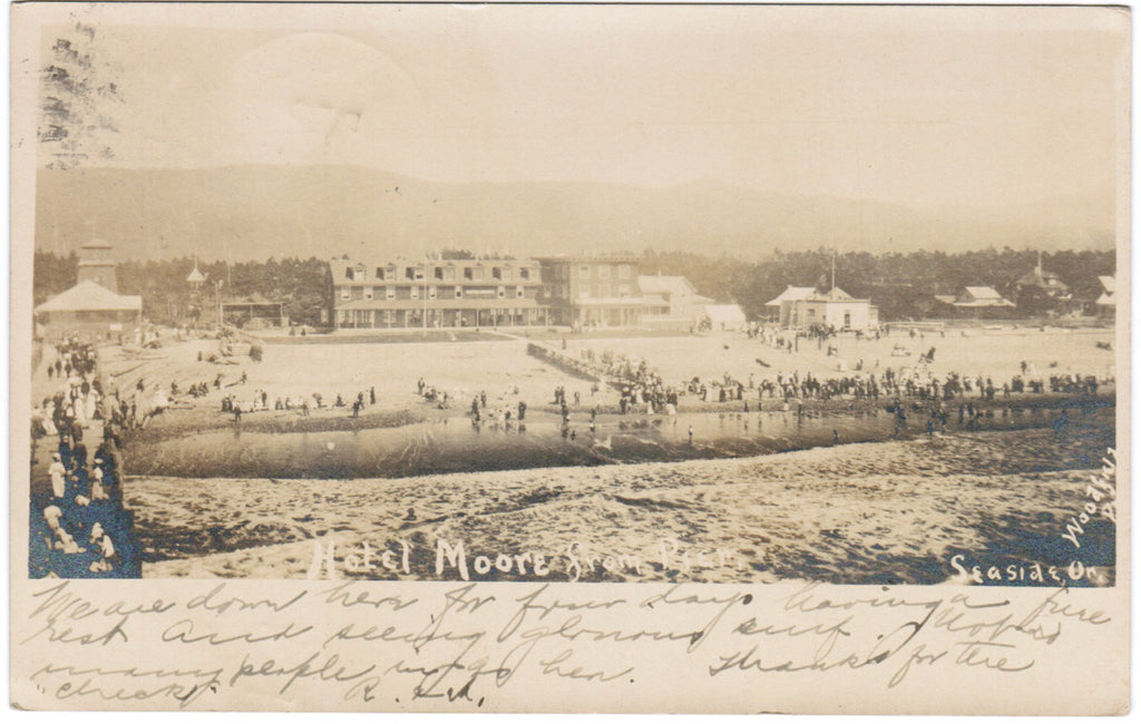 OR, Seaside - Hotel Moore view of beach area - Woodfield Photo RPPC - E09032