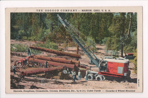 OH, Marion - OSGOOD Co manufacturer Advertisement - Crane, logs, men - C17064
