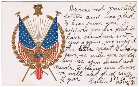 Vintage Patriotic Postcard, Flags, Shield, Eagle, Liberty Bell - 606252